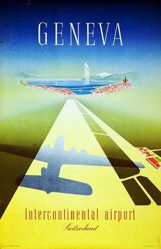 Geneva Intercontinental Airport vintage travel poster by W. Mahrer, 1949