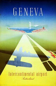 Geneva - Intercontinental Airport Vintage Poster (artist: Mahrer) Switzerland c. 1949 (Art Prints, W Evian Les Bains, Swiss Travel, Retro, Airline Travel, Travel Ads, Air Travel, Tourism Poster, Vintage Airplanes, Vintage Travel Posters