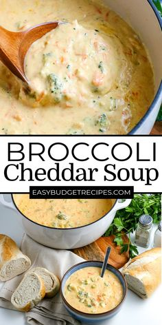 Broccoli Cheddar Soup is a classic soup that is great any time of the year. It's velvety-smooth, creamy, cheesy, and full of perfectly cooked broccoli and carrots. For more easy soup recipes follow Easy Budget Recipes! Easy Holiday Recipes, Easy Soup Recipes, Appetizer Recipes, Dessert Recipes, Dinner Recipes, Appetizers, Easy Broccoli Cheddar Soup, Cheddar Soup Recipe, Budget Meals