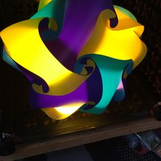 Purple Yellow and Green Star Shaped Puzzle Lamp by GetLightMe on Etsy