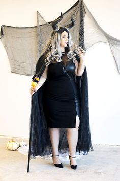 plus size halloween costume easy cheap affordable halloween diy costume fashion to figure ootd crystal coons sometimes glam Halloween Diy Kostüm, Halloween Costumes Plus Size, Easy Halloween Costumes, Diy Costumes, Halloween Outfits, Halloween Makeup, Black Dress Halloween Costume, Costume Ideas, Simple Costumes