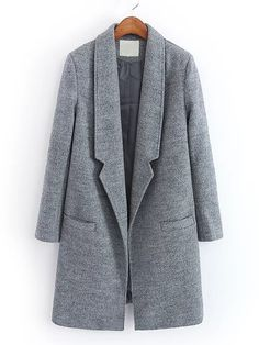 SheIn offers Notch Lapel Wool Blend Coat & more to fit your fashionable needs. Winter Coats Women, Coats For Women, Long Grey Coat, Gray Coat, Fashion Souls, Nasa Clothes, Mode Hijab, Sweater Coats, Suit Fashion