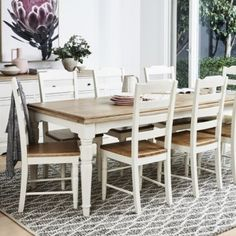 Clover Dining Table 2200 with 8 Clover Chairs Package - Dining Packages - Dining Timber Dining Table, Dining Table Rug, Dinning Set, White Dining Table, Dining Room, Dining Table Makeover, White Furniture, Bamboo Furniture, Painted Furniture