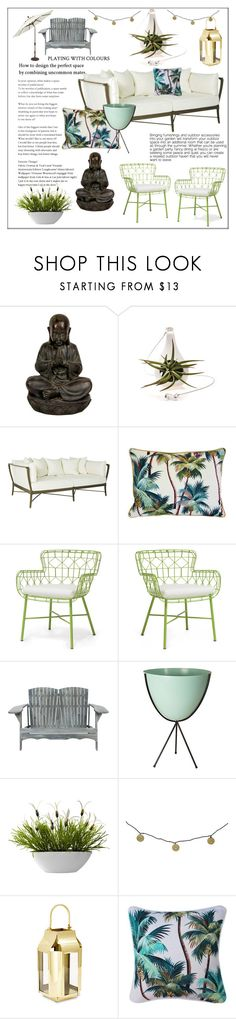 """""""Furnishing your outside space"""" by frenchfriesblackmg ❤ liked on Polyvore featuring interior, interiors, interior design, home, home decor, interior decorating, Palecek, Safavieh, Nearly Natural and Threshold"""