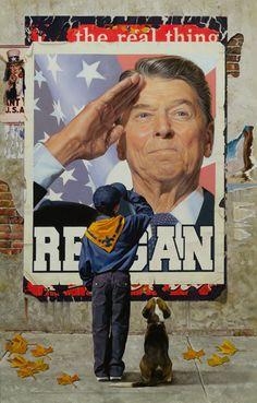 Ronald Reagan by Chris Hopkins  chrishopkinsart.com  I love this!