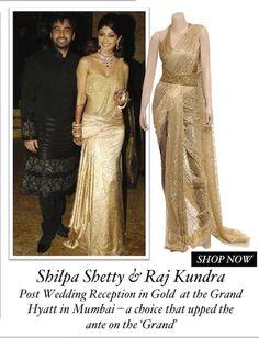 Shilpa Shetty & Raj Kundra Post Wedding Reception in Gold  at the Grand Hyatt in Mumbai