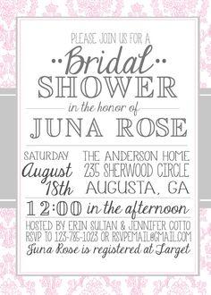 Vintage Damask Bridal Shower Invitation by JulsNewbrough on Etsy, $20.00