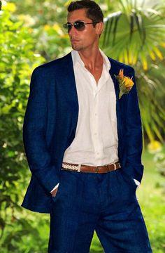 SKU#QSZ5 Mens 100% Linen Suit in Navy Blue $249