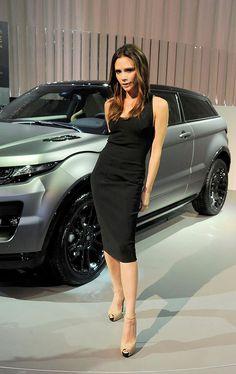 Victoria Beckham with her Range Rover Evoque which she designed