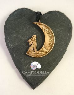 Hare in the Moon  Moon Gazing Hare coin pendant by Campsodella