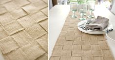 jute table runner…maybe this but as placemats? Burlap Projects, Burlap Crafts, Diy Projects, Project Ideas, Sisal, Quick And Easy Crafts, Do It Yourself Fashion, Burlap Fabric, Burlap Ribbon