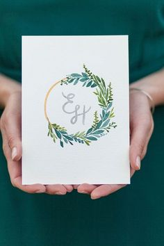 Custom Wedding Invitations by Sable and Gray   Custom Wedding Crest, Green Wedding Crest, Custom Wedding Wreath, Hand lettering, Watercolor brush calligraphy