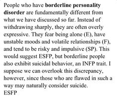 Personality types and personality disorders --  borderline personality disorder