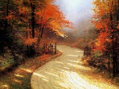 Thomas Kinkade Autumn Lane painting for sale - Thomas Kinkade Autumn Lane is handmade art reproduction; You can buy Thomas Kinkade Autumn Lane painting on canvas or frame. Thomas Kinkade Art, Kinkade Paintings, Thomas Kincaid, Art Thomas, Autumn Scenes, Autumn Forest, Cover Photos, Watercolor Paintings, Oil Paintings