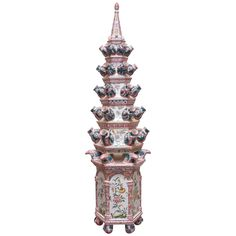 Faience Tin-Glazed, Monumental Pagoda Form Tulipiere | From a unique collection of antique and modern vases at https://www.1stdibs.com/furniture/dining-entertaining/vases/