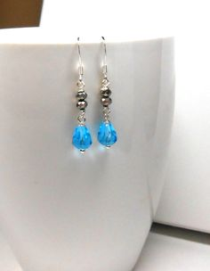 Metallic Dark Aquamarine Crystal Drop Earrings, Silver Jewelry, Modern, Contemporary, Mixed Metals, Metallic, Drop Jewelry, Dangle Jewelry by WrappedInJules on Etsy