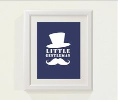 "Navy ""little gentleman"" Nursery decor, baby nursery art. Nursery Wall art, silhouette - typographic print, 8x10"" professionally printed. $18.00, via Etsy."