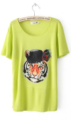 Candy colour tiger print round collar T-shirt B7918065 Green $22.52