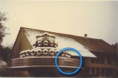 """a shot of Billy Meier's """"weddingcake"""" craft, allegedly an extraterrestrial device. A strange appendage is circled in blue. What could it possibly be?"""