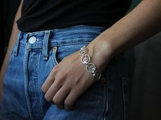 Art Deco Inspired Bracelet Sterling Silver and Diamonds