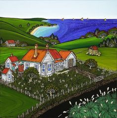 Check out A Place Within All of Us by Fiona Whyte at New Zealand Fine Prints Nz Art, Art For Art Sake, Weatherboard House, Fine Art Posters, Maori Designs, New Zealand Art, House By The Sea, Kiwiana, Popular Art