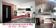 Tủ bếp gia đình - 0962268852: Hiện trạng tủ bếp gia đình chị Hương đầy cá tính