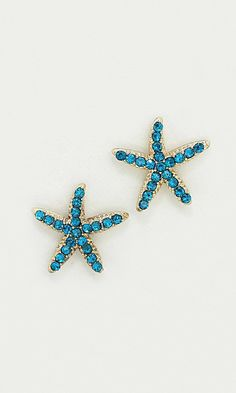 Starfish Earrings in Teal Crystal