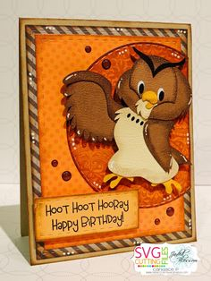Paper Crafts by Candace Owl Punch, Punch Art, Disney Cards, Cricut Cards, Forest Friends, Birthday Crafts, Silhouette Projects, Kids Cards, Paper Piecing