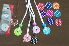 I've made some of these but the polka dots are too cute!! -Washer Necklaces