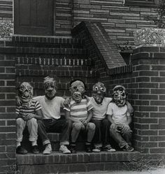 Vintage photo of kids in Halloween monster masks
