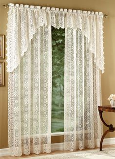 Lee Ann is a design that is interesting because it can be used within a contemporary or traditional decor.  Very different than the normal Lace Patterns.  It is available in White or Ecru.  An 84 inch Lace Panel is $34.95.