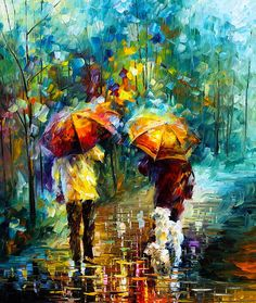 Rainy Stroll with a Dog by Leonid Afremov