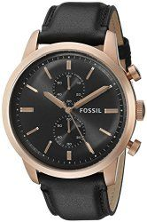 Fossil Men's FS5097 Townsman Chronograph Rose Gold-Tone Stainless Steel Watch with Black Leather Band