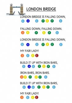 Keyboard Lessons London Bridge is Falling Down - Easy Piano Music Sheet for Toddlers. How to teach young children to play music keyboard using coloured stickers. Piano Music For Kids, Piano Lessons For Kids, Easy Piano Songs, Piano Music Notes, Easy Piano Sheet Music, Music Sheets, Piano Jazz, Musik Keyboard, Keyboard Piano