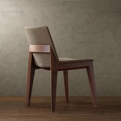 Wooden chair with thin upholstery.