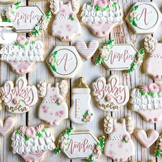 Baby Shower Fall, Floral Baby Shower, Girl Shower, Baby Girl Cookies, Onesie Cookies, Baby Shower Cookie Cutters, Baby Shower Cookies, Girl First Birthday, 21st Birthday