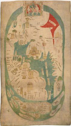 MAPPA MUNDI di EVESHAM. Evesham, 1390-1415 circa, sotto il patronato di Nicholas Hereford, priore dell'abbazia di Evesham (1352-1392), e di Roger Yatton, abate di Evesham (1372-1418), inchiostro e colori su pergamena, 94 X 46 cm (99 X 55 cm il foglio). Londra, College of Arms, Muniment Room 18/19. (Barber 2001, p.71)