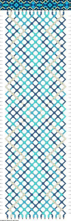 Friendship bracelet pattern - 16 strings, 4 colors - squares, diamonds, hexagons