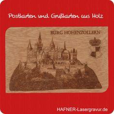 Grusskarte von der Burg Hohenzollern aus Holz. Fotogravur auf Holz