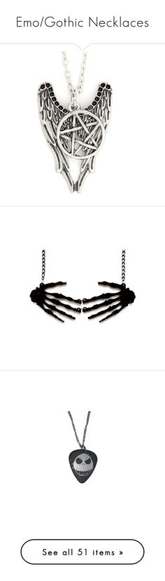 """""""Emo/Gothic Necklaces"""" by deadovertrouble666 on Polyvore featuring jewelry, accessories, necklaces, star jewelry, pentagram pendant, silver tone jewelry, metal jewelry, pentagram jewelry, gothic necklace and skeleton jewelry"""