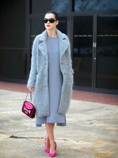 bittersweet colours, fuzzy coat, grey coat, HM, pierre hardy, PINK, silk dress, street style, Topshop, Tres Jewellery, Chanel lipstick, wint...