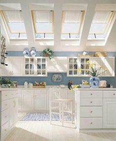 white and blue kitchen. love the skylights