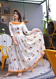 Indian Bollywood Designer indo western gown Kurta Kurti women ethnic dress -wb36