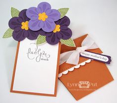 """handmade Mother's Day card ... flower pot card """"open"""" ...    large """"violets"""" on the top ... great use of this design ..."""