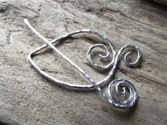 "Aluminum Shawl Pin Scarf Pin Wire Hammered Leaf and Pin Silver Unique  Design- ""From the Old Tree"""