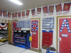 Self portraits on the top  Whole room is decorated red, white, & blue!