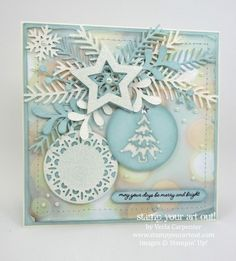 """A Christmas card that """"WOWS"""" featuring the Merry Tags Framelits and Pretty Pines Thinlits.… #stampyourartout - Stampin' Up!® - Stamp Your Art Out! www.stampyourartout.com"""