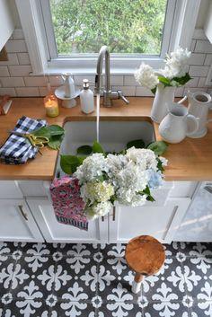 Farm Sink- Full of Flowers, farmhouse kitchen