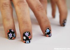NAILS DID : PAINTERLY FLORAL ON BLACK  Inspired by Celine Resort 2012