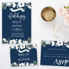 Navy Blue Floral Wedding Invitation Suite | Printable by papermintprints on Etsy https://www.etsy.com/listing/262580825/navy-blue-floral-wedding-invitation